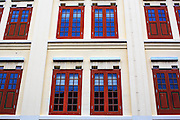 18 DECEMBER 2012 - SINGAPORE, SINGAPORE: Windows in a row of shophouses on Mosque Rd in the Chinatown section of Singapore.      PHOTO BY JACK KURTZ