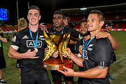 Sam Dickson Joe Ravouvou and Trael Joass pose with the cup after they win the HSBC World Rugby Sevens in Sydney. Mens Cup Final match between New Zealand and USA, 2019, Spotless Stadium, Saturday 3rd February 2019. Copyright Photo: David Neilson / www.photosport.nz