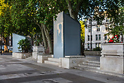 Hidden beneath the cover is a bronze statue, by the sculptor Philip Jackson of Mahatma Gandhi, an Indian lawyer, anti-colonial nationalist, who employed nonviolent resistance to lead the successful campaign for Indias independence from British Rule on 15th June 2020 in Londons Parliament Square, United Kingdom. On its unveiling, commentators noted the irony of the statues placement near the statue of Sir Winston Churchill that also stands in Parliament Square. Churchill, who strongly opposed Indian independence, famously once called Gandhi a seditious Middle Temple lawyer, now posing as a fakir of a type well known in the East, striding half-naked up the steps of the Vice-regal palace. The Telegraph of Kolkata noted that the fact that Gandhi and Mandela now stand alongside a slew of white men in Parliament Square is proof of how much England itself has moved away from Winston Churchills views on racism and imperialism.  The boarded up statue in the background is Nelson Mandela. The statues were boarded up to protect them from attacks by far-right extremists.