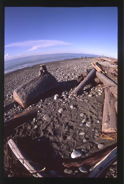 Dungeness Spit and the Strait of Juan de Fuca (Fisheye), Dungeness National Wildlife Refuge, Olympic Peninsula, Washington, US