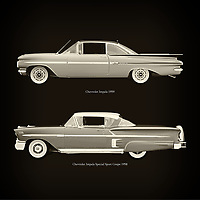 For the lover of old classic cars, this combination of a Chevrolet Impala 1959 and Chevrolet Impala Special Sport Coupe 1958 is truly a beautiful work to have in your home.<br /> The classic Chevrolet Impala and the beautiful Chevrolet Impala Special Sport are among the most beautiful cars ever built.<br /> You can have this work printed in various materials and without loss of quality in all formats.<br /> For the oldtimer enthusiast, the series by the artist Jan Keteleer is a dream come true. The artist has made a fine selection of the very finest cars which he has meticulously painted down to the smallest detail. – –<br /> -<br /> <br /> BUY THIS PRINT AT<br /> <br /> FINE ART AMERICA<br /> ENGLISH<br /> https://janke.pixels.com/featured/chevrolet-impala-1959-and-chevrolet-impala-special-sport-coupe-1958-jan-keteleer.html<br /> <br /> WADM / OH MY PRINTS<br /> DUTCH / FRENCH / GERMAN<br /> https://www.werkaandemuur.nl/nl/shopwerk/Chevrolet-Impala-1959-en-Chevrolet-Impala-Special-Sport-Coupe-1958/757032/132?mediumId=1&size=60x60<br /> –