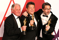 Paul Massey, Tim Cavagin, and John Casali with the award for best Sound Mixing for Bohemian Rhapsody in the press room at the 91st Academy Awards held at the Dolby Theatre in Hollywood, Los Angeles, USA