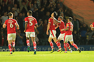GOAL HAT-TRICK Kieffer Moore celebrates scoring his hat-trick 0-4 during the EFL Sky Bet League 1 match between Rochdale and Barnsley at Spotland, Rochdale, England on 21 August 2018.