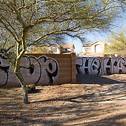 Graffiti sprayed near the funeral of slain 9 year old Christina Green who died in the shooting rampage on January 8, 2011 in Tucson, Arizona.