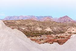 View to Chisos Mountains through volcanic tuff, Big Bend National Park, Texas, USA.