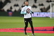 Andy Carroll of West Ham United in action during the pre match warm up. Premier league match, West Ham Utd v Manchester city at the London Stadium, Queen Elizabeth Olympic Park in London on Wednesday 1st February 2017.<br /> pic by John Patrick Fletcher, Andrew Orchard sports photography.