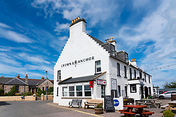 Exterior view of The Crown & Anchor hotel in Findhorn, Moray, Scotland, UK