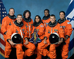 Feb 01, 2003; Cape Canaveral, FL, USA; **FILE** Space Shuttle Columbia crew, L-R, front row, Commander RICK HUSBAND, Mission Specialist KALPANA CHAWLA, Pilot WILLIAM MCCOOL, back row, Mission Specialists DAVID BROWN & LAUREL CLARK, Payload Commander MICHAEL ANDERSON and Israeli astronaut & Payload specialist ILAN RAMON at Cape Canaveral. NASA's Shuttle Columbia fell from sky and debris has been found in Nacogdoches, Texas area between Dallas and Houston. NASA lost communication with Columbia as the ship and its 7 astronauts soared over Texas several minutes before its expected landing, Sat, Feb' 1, 2003..  (Credit Image: ZUMA Press/ZUMAPRESS.com)
