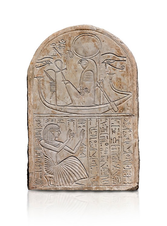 Ancient Egyptian stele dedicated to Re-Harakhty by draftsman Pay, limestone, New Kingdom, 19th Dynasty, (1292-1190 BC), Deir el-Medina, Schiaprelli cat 6144. Egyptian Museum, Turin. white background, .<br /> <br /> If you prefer to buy from our ALAMY PHOTO LIBRARY  Collection visit : https://www.alamy.com/portfolio/paul-williams-funkystock/ancient-egyptian-art-artefacts.html  . Type -   Turin   - into the LOWER SEARCH WITHIN GALLERY box. Refine search by adding background colour, subject etc<br /> <br /> Visit our ANCIENT WORLD PHOTO COLLECTIONS for more photos to download or buy as wall art prints https://funkystock.photoshelter.com/gallery-collection/Ancient-World-Art-Antiquities-Historic-Sites-Pictures-Images-of/C00006u26yqSkDOM