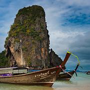 Ko Rang Nok island rock from Phra Nang beach in Krabi, Thailand