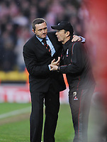 Watford/Stoke City Championship 15.03.08 <br /> Photo: Tim Parker Fotosports International<br /> Adrian Boothroyd manager Watford and Tony Pulis manager Stoke City at the end of the game