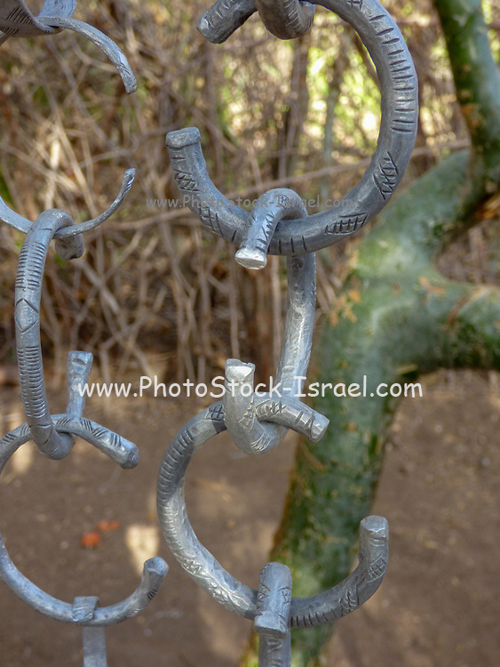 metal bracelets made by the Gidonwoduk tribe, the former Datoga blacksmith tribe. Today they are a separate tribe. They do not marry with Datoga since they discovered the secrets of blacksmithing. Photographed in Africa, Tanzania, Lake Eyasi