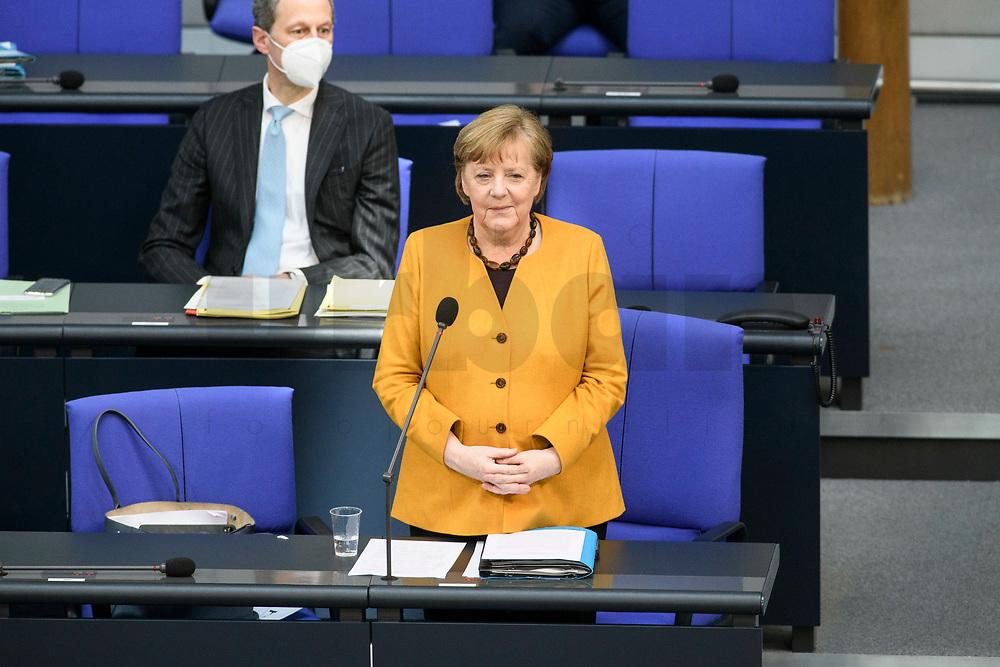 24 MAR 2021, BERLIN/GERMANY:<br /> Angela Merkel, CDU, Bundeskanzlerin, waehrend der Regierungsbefragung durch den Bundestag zur Bekaempfung der Corvid-19 Pandemie, Plenarsaal, Reichstagsgebaeude, Deutscher Bundestag<br /> IMAGE: 20210324-01-029<br /> KEYWORDS: Corona