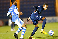 Southend United player Renie Batlokwa Colchester United defender Ryan Jackson (2) battles for possession during the EFL Trophy match between Colchester United and Southend United at the Weston Homes Community Stadium, Colchester, England on 9 October 2018.