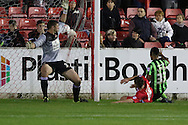Lyle Taylor of AFC Wimbledon draws the Dons level during the Sky Bet League 2 match between Accrington Stanley and AFC Wimbledon at the Fraser Eagle Stadium, Accrington, England on 20 October 2015. Photo by Stuart Butcher.