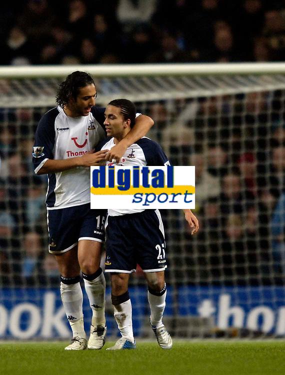 Photo: Jed Wee.<br /> Manchester City v Tottenham Hotspur. The Barclays Premiership. 04/01/2006.<br /> <br /> Tottenham goalscorer Mido (L) congratulates the architect of his goal, Aaron Lennon.