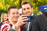 KELOWNA, BC - SEPTEMBER 29:  Brandon Sutter #20 of the Vancouver Canucks poses for a selfie with a fan prior to the final pre-season game against the Arizona Coyotes at Prospera Place on September 29, 2018 in Kelowna, Canada. (Photo by Marissa Baecker/NHLI via Getty Images)  *** Local Caption *** Brandon Sutter;