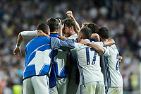 Cristiano Ronaldo, Luka Modric  of Real Madrid celebrates after scoring a goal during the match of Champions League between Real Madrid and FC Bayern Munchen at Santiago Bernabeu Stadium  in Madrid, Spain. April 18, 2017. (ALTERPHOTOS)