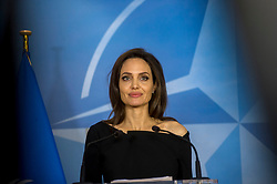 HANDOUT - Special Envoy for the United Nations High Commissioner for Refugees (UNHCR), Angelina Jolie talks at NATO headquarters in Brussels, Belgium, as Angeline Jolie visits the Organisation on January 31, 2018. Photo by NATO via Balkis Press/ABACAPRESS.COM