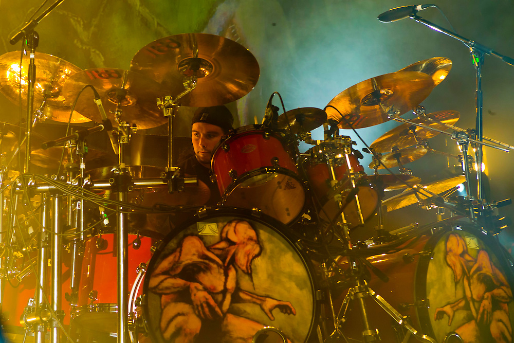 Shadows Fall, Jason Bittner, drummer in concert.
