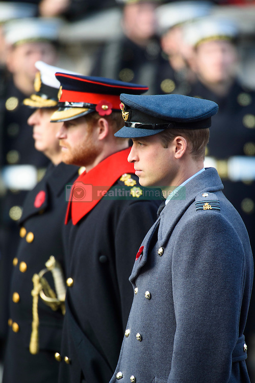 The Duke of York, Prince Harry and the Duke of Cambridge during the annual Remembrance Sunday Service at the Cenotaph memorial in Whitehall, central London, held in tribute for members of the armed forces who have died in major conflicts. Picture date: Sunday November 13th, 2016. Photo credit should read: Matt Crossick/ EMPICS Entertainment.
