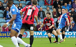 Peterborough United's Paul Taylor's shot hits the post - Photo mandatory by-line: Joe Dent/JMP - Tel: Mobile: 07966 386802 19/10/2013 - SPORT - FOOTBALL - London Road Stadium - Peterborough - Peterborough United V Shrewsbury Town - Sky Bet League One