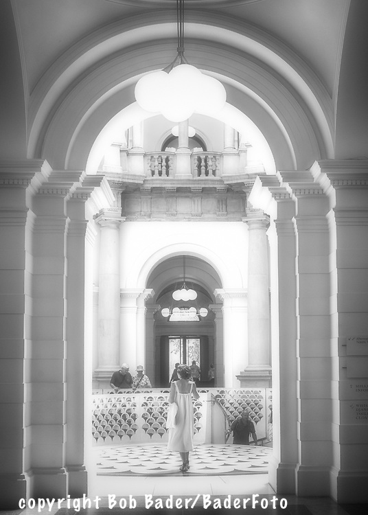 Woman waiting for someone in the Rotunda