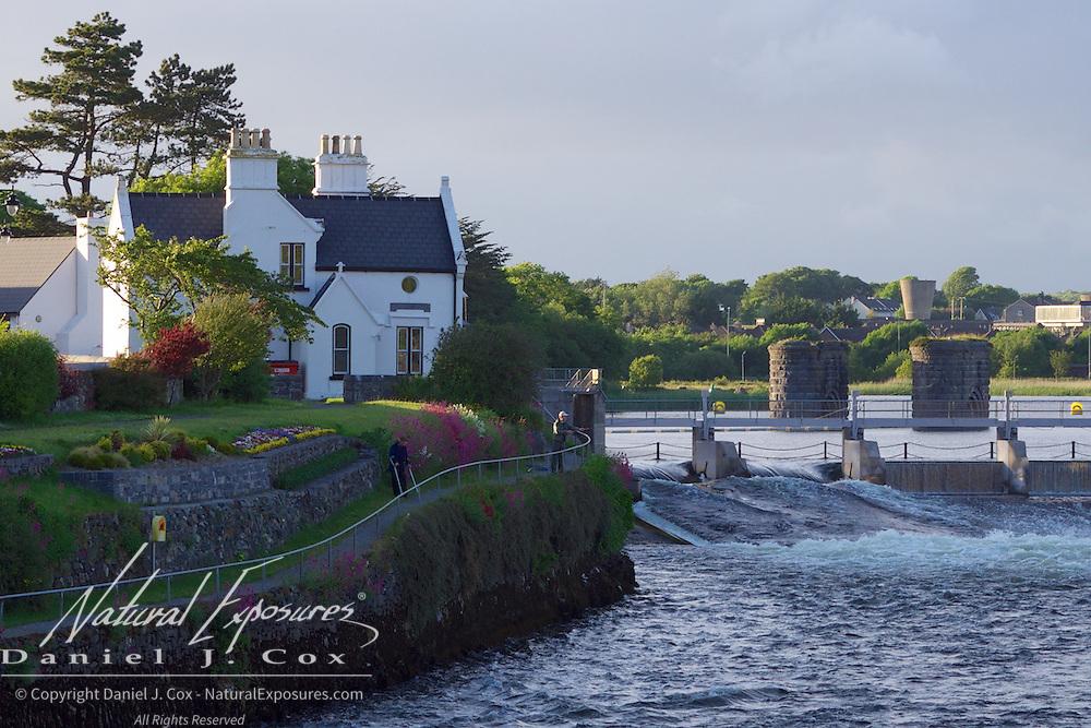 Salmon fishing on the Corrib River, Galway, Ireland.