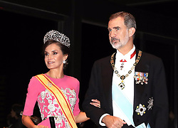 October 22, 2019, Madrid, Madrid, Spain: 22-10-2019 Gala Queen Letizia and King Felipe arrive at the Imperial Palace for the Court Banquets, the 'Kyoen-no-gi' banquet, after the ceremony of the enthronement of Emperor Naruhito in Tokyo, Japan. (Credit Image: © face to face via ZUMA Press)
