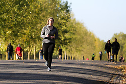 © Licensed to London News Pictures. 10/09/2020. London, UK. An early morning jogger in Finsbury Park, north London. Met Office forecasts a mini heatwave in the South East. Photo credit: Dinendra Haria/LNP