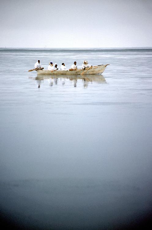 Barrow, Alaska, Alaska Native whaling crew in their umiak during the annual hunt for Bowhead Whale