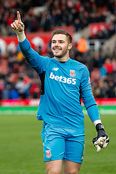 Jack Butland of Stoke City celebrates after his side win 2-0 - Mandatory byline: Rogan Thomson/JMP - 26/12/2015 - FOOTBALL - Britannia Stadium - Stoke, England - Stoke City v Manchester United - Barclays Premier League - Boxing Day Fixture.