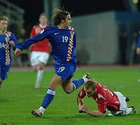 7.2.2007 Rijeka-Croatia<br /> Croatia-Norway friendly <br /> Morten Gamst Pedersen Norway injured during the match and Niko kranjcar croatia<br /> foto:Digitalsport