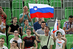 Fans of Slovenia during volleyball match between National teams of Slovenia and Belgium in 2nd Round of 2018 FIVB Volleyball Men's World Championship qualification, on May 28, 2017 in Arena Stozice, Ljubljana, Slovenia. Photo by Morgan Kristan / Sportida