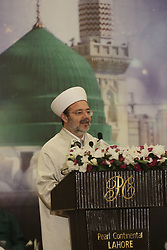 December 12, 2016 - Lahore, Punjab, Pakistan - Turkish Head of the Religious Affairs Directorate, Mehmet Gormez addressing during Seerat Conference, a special prayer organization,, organized within the celebration for Mawlid al-Nabi, birth anniversary of Muslims' beloved Prophet Mohammad in Lahore. (Credit Image: © Rana Sajid Hussain/Pacific Press via ZUMA Wire)