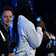Conor Maynard and Tamara Smart on stage Prince Harry attend WE Day UK at Wembley Arena, London, Uk 6 March 2019.