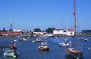AREJJ8 Boats moored on River Deben, Woodbridge, Suffolk, England