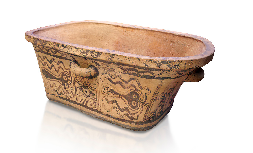 Minoan  pottery bath tub  larnax decorated with stylised octopuses,  Episkopi-Lerapetra 1350-1250 BC, Heraklion Archaeological  Museum, white background.<br /> <br /> To the Greeks, the Underworld was entered by water. As with many other Minoan bathtubs, this one was probably later used as a coffin to convey the deceased across the sea, where marine imagery would be equally appropriate. The two functions of bathtubs, bathing and burial, combine in the story of Agamemnon who, on return from Troy, was murdered by his wife and her lover in a silver bath. .<br /> <br /> If you prefer to buy from our ALAMY PHOTO LIBRARY  Collection visit : https://www.alamy.com/portfolio/paul-williams-funkystock/minoan-art-artefacts.html . Type -   Heraklion   - into the LOWER SEARCH WITHIN GALLERY box. Refine search by adding background colour, place, museum etc<br /> <br /> Visit our MINOAN ART PHOTO COLLECTIONS for more photos to download  as wall art prints https://funkystock.photoshelter.com/gallery-collection/Ancient-Minoans-Art-Artefacts-Antiquities-Historic-Places-Pictures-Images-of/C0000ricT2SU_M9w