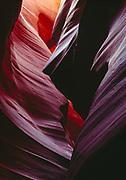 Convoluted Navajo Sandstone walls of Lower Antelope Canyon, Navajo Reservation, Arizona.