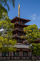 Pagoda at Shitennoji Temple - Shitenno-ji temple is regarded as the oldest Buddhist administered temple in Japan though the temple's buildings have been rebuilt several times over the centuries. Its centerpiece is a five story pagoda.