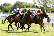Pull Harder Con ridden by William Carson trained by Robyn Brisland wins the Visitbath.co.uk Handicap (Div II) ahead of Amberine ridden by Charlie Bennett trained by Malcolm Saunders and Dreamboat Annie ridden by Isobel Francis trained by Mark Usher - Mandatory by-line: Robbie Stephenson/JMP - 22/07/2020 - HORSE RACING - Bath Racecoure - Bath, England - Bath Races
