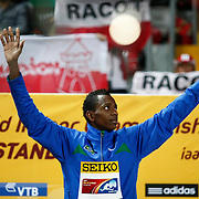Vinicius da Silva of Brasil won the gold medal during the IAAF World Indoor Championships at the Atakoy Athletics Arena, Istanbul, Turkey. Photo by TURKPIX