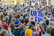 Some of the estimated 650,000 manage to squeeze into Parliament Sqaurte for teh speeches -The People's Vote March For The Future demanding a Vote on any Brexit deal. The protest assembled on Park Lane and then marched to Parliament Square for speeches.