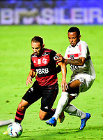SAO PAULO, BRAZIL - FEBRUARY 25: Everton Ribeiro of CR Flamengo competes for the ball with Welington of Sao Paulo FC ,during the Brasileirao Serie A 2020 match between Sao Paulo FC and CR Flamengo at Morumbi Stadium on February 25, 2021 in Sao Paulo, Brazil. (Photo by MB Media/BPA)