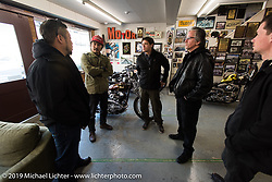 Harley-Davidson design team led by Ray Dres visits Go Takamine in his Brat Style shop. Tokyo, Japan. Monday, December 8, 2014. Photograph ©2014 Michael Lichter.