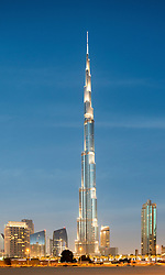 View of Burj Khalifa tower , the world's tallest structure , Dubai United Arab Emirates UAE