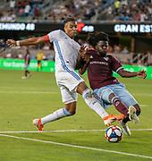 San Jose Earthquakes midfielder Magnus Eriksson shoots past Colorado Rapids goalkeeper Clint Irwin at Avaya Stadium on July 27, 2019.