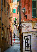 Street scene in the Vieille Ville (old town) part of Nice on the French Riviera (Cote d'Azur)