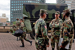28th August, 2005. Hurricane Katrina, New Orleans, Louisiana. Members of the Louisiana National Guard prepare to take charge as the storm draws near to the Superdome.