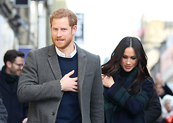 Prince Harry and Meghan Markle outside Social Bite in Edinburgh, during their visit to Scotland.